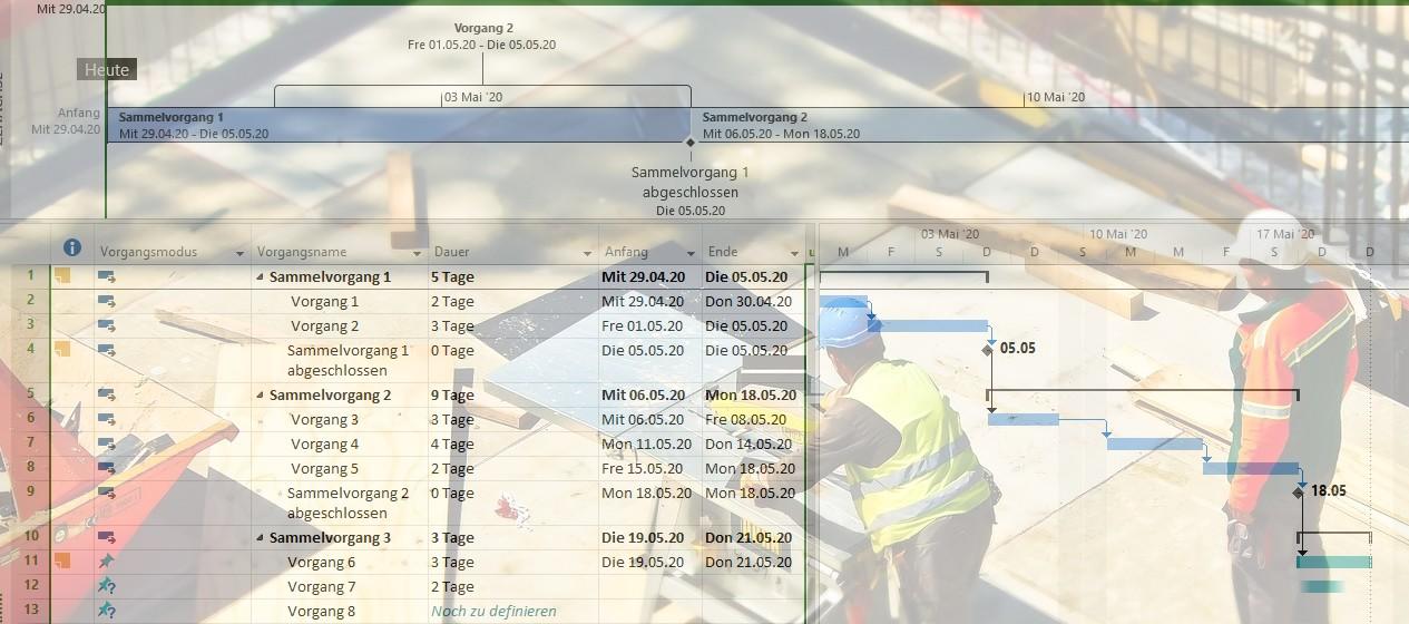 Bauablaufbezogene Darstellung